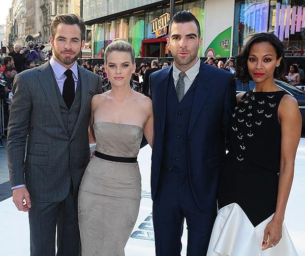 Chris Pine, Alice Eve, Zachary Quinto and Zoe Saldana at Star Trek: Into The Darkness premiere