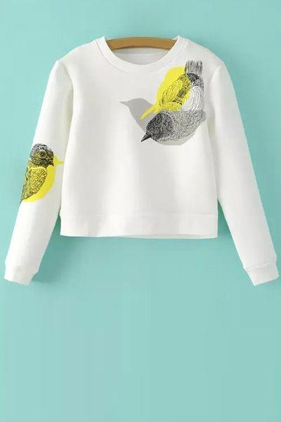Bird Print Long Sleeves Round Collar Sweatshirt