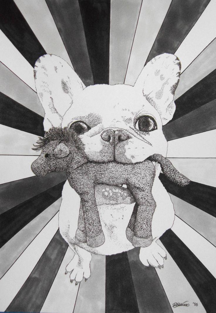 A4 French Bulldog portrait drawing