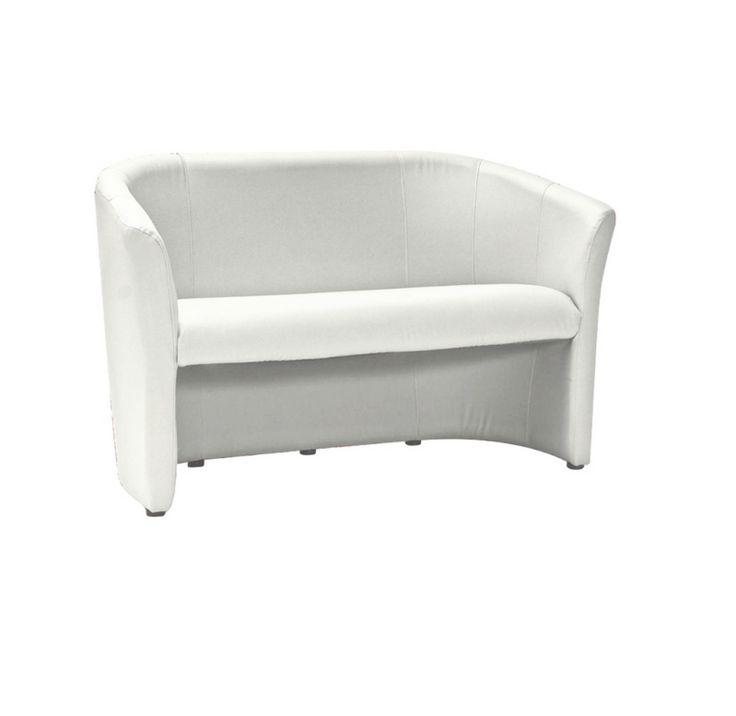 TM-1 alacsony háttámlás klub kanapé, ami ügyfélváró kanapénak, iroda bútornak és tárgyalószéknek is alkalmas, krém színű textilbőr üléssel és háttámlával.