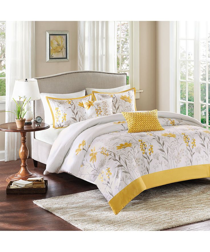 Yellow Amp Gray Floral Duvet Cover Set Zulily Bedding