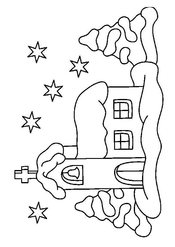 Dessin colorier d une glise recouverte de neige no l for Toit de maison dessin