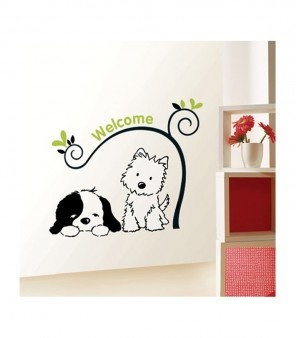"""If you love pets, here is something you will appreciate. This wall art has """"Animal"""" as the theme. It features two cute dogs, one of them a terrier, glancing at another sleeping dog. Very cute and pleasant, this is great for your living room or study or bedroom."""