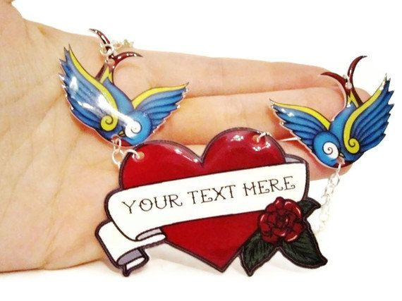 Personalized Tattoo Necklace Heart Banner Rose by TheSpangledMaker, $26.00