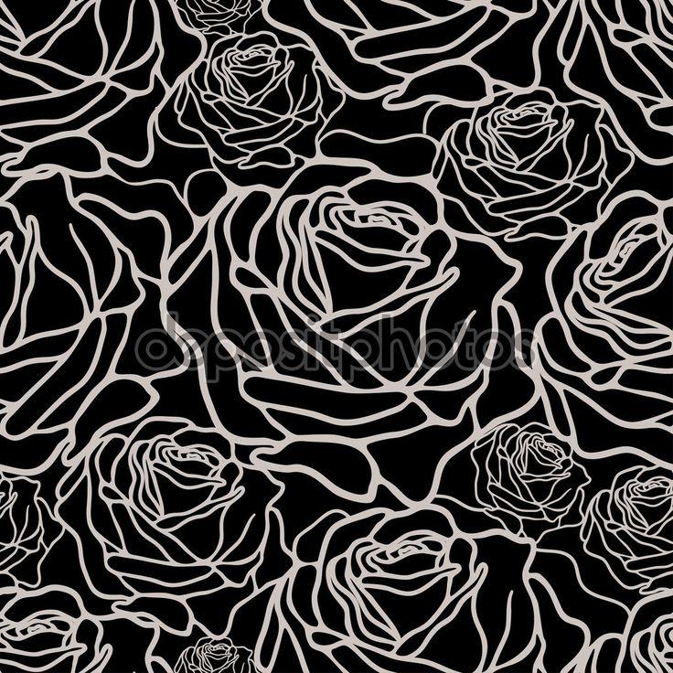 Скачать - Черно-белый узор с розами — стоковая иллюстрация #97080004