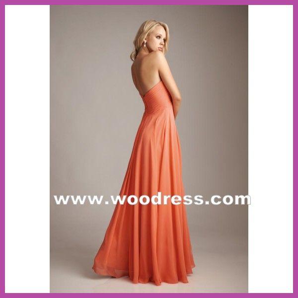 A-Line strapless Bodice V-hals oranje Chiffon bruidsmeisje jurken stijl 1221