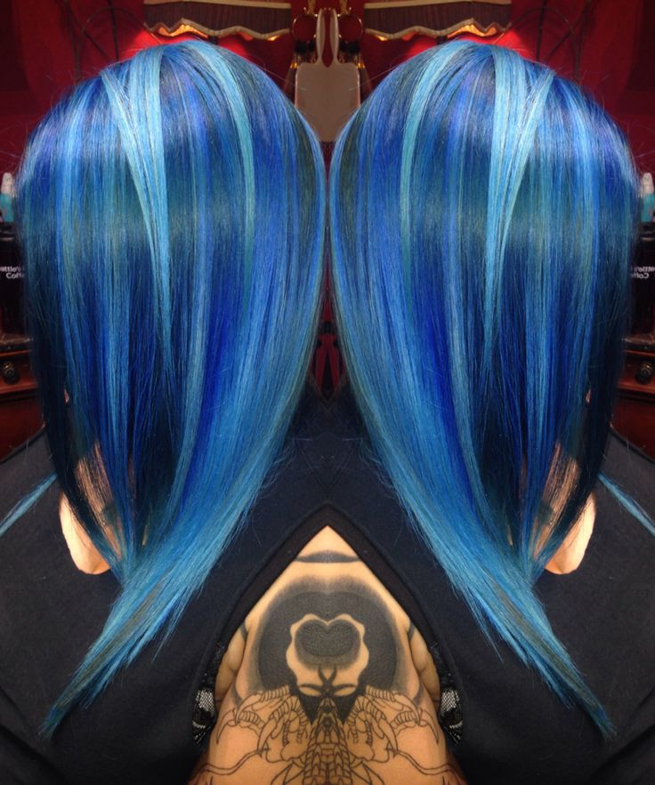 Gorgeous, dramatic blue hair color design by Toni Rose Larson! fb.com/hotbeautymagazine #hotonbeauty blue color melt