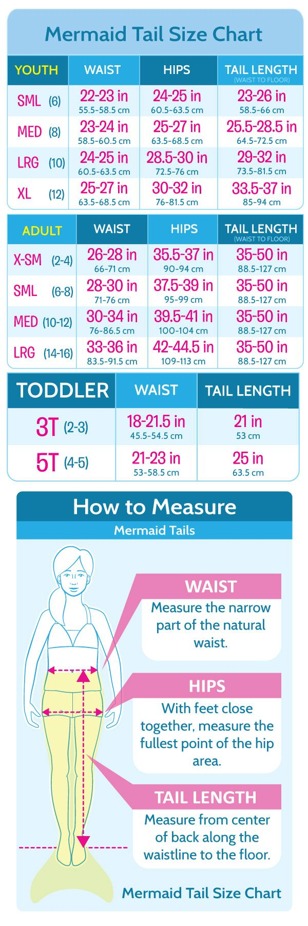 Mermaid Tail, Swimsuit, Appeal Size Charts | Fin Fun Mermaid
