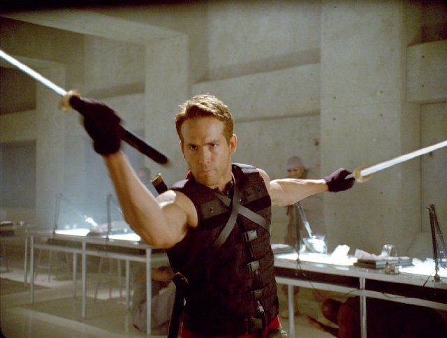 Still of Ryan Reynolds as Wade Wilson / Deadpool in 'X-Men Origins: Wolverine.'  He was a member of Team X and later became Weapon XI, who was also played by Scott Adkins.