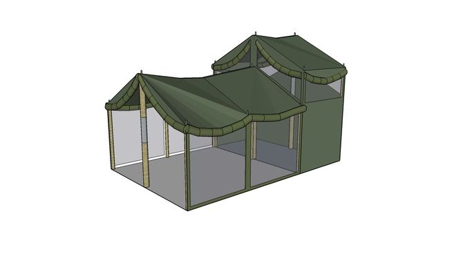 Large preview of 3D Model of Army Kitchen Tent