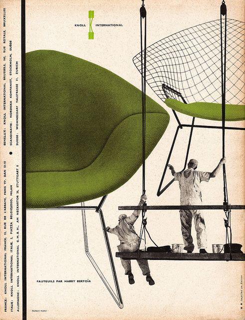 Harry Bertoia Diamond Chair. Knoll Ad 1957 by Herbert Matter, from L'Œil Magazine, March 1957.