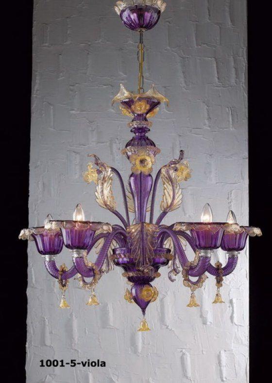 Muranoi csillár , viola-aranyozott 5 ágú