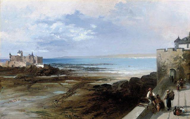 James Baker Pyne (1800-1879), The coast of St Briac, France.