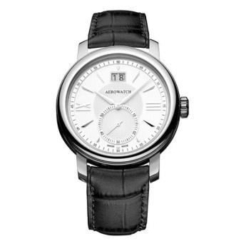 Reloj Aerowatch modelo Big Date de Cuarzo con esfera plateada, dial con números romanos y correa antialérgica de cuero color negro. Cristal de Zafiro.