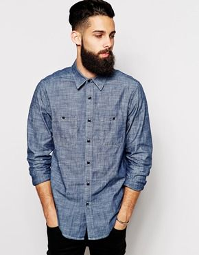 ASOS Chambray Shirt In Long Sleeve With 2 Pockets