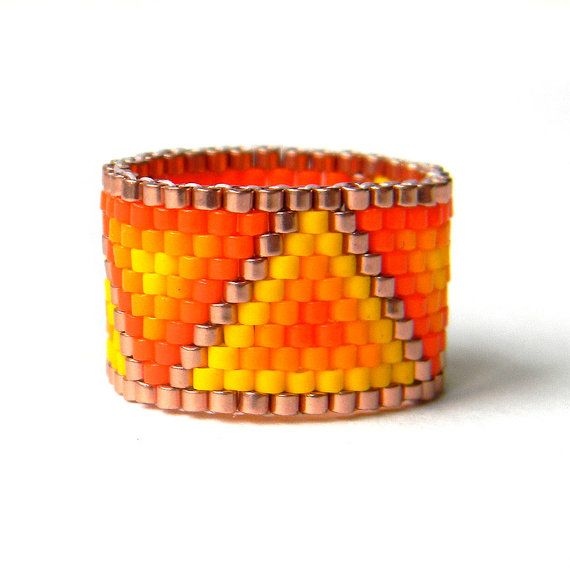 Orange and yellow ring Colorful beaded ring Wide orange ring Wide geometric ring Colorful jewelry Delica beaded ring Seed bead ring for her