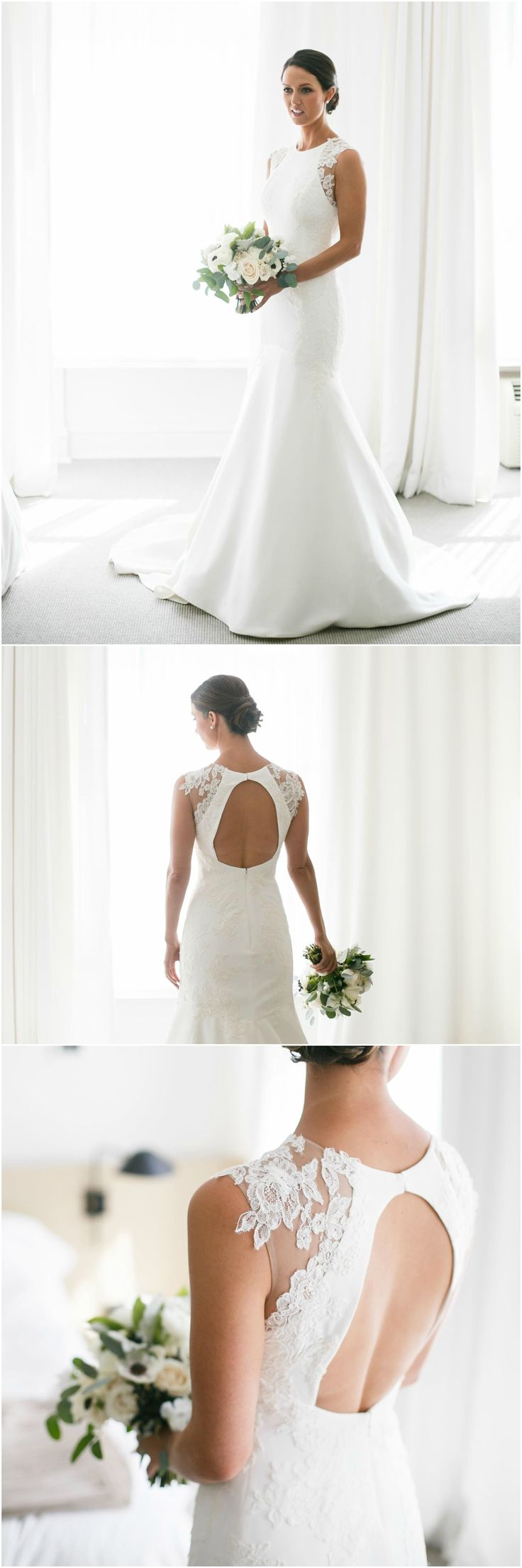Satin wedding dress, white, keyhole back, lace cap sleeve, classic elegance // Averyhouse