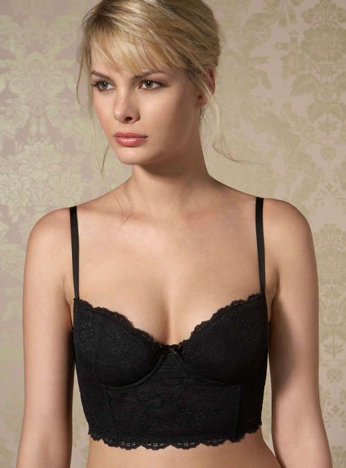 Chloe Lace Longline Bra - Black | Boux Avenue || I have this and it's absolutely gorgeous! And comfortable too!