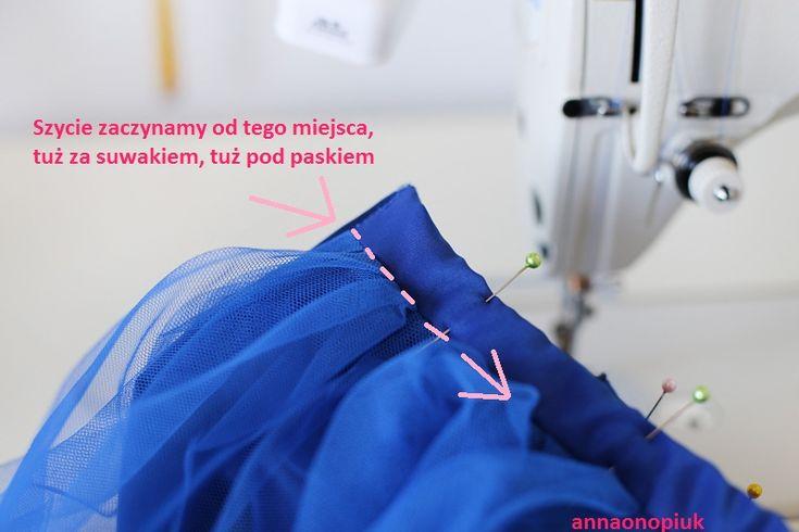 Anna Onopiuk: Jak uszyć tiulową spódnicę. Tiulowa spódnica z 5 warstw na prostokącie, instrukcja jak szyć. Na pasku, z suwakiem.