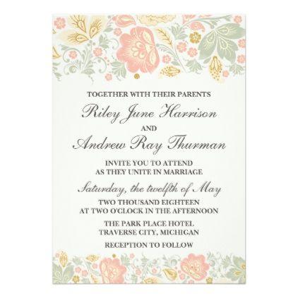 Floral Elegance Peach Blush Sage Classic Wedding Card - invitations custom unique diy personalize occasions