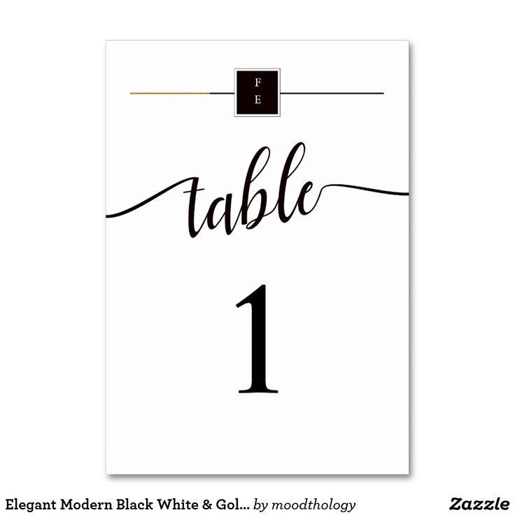 Elegant Modern Black White & Gold Wedding Table No