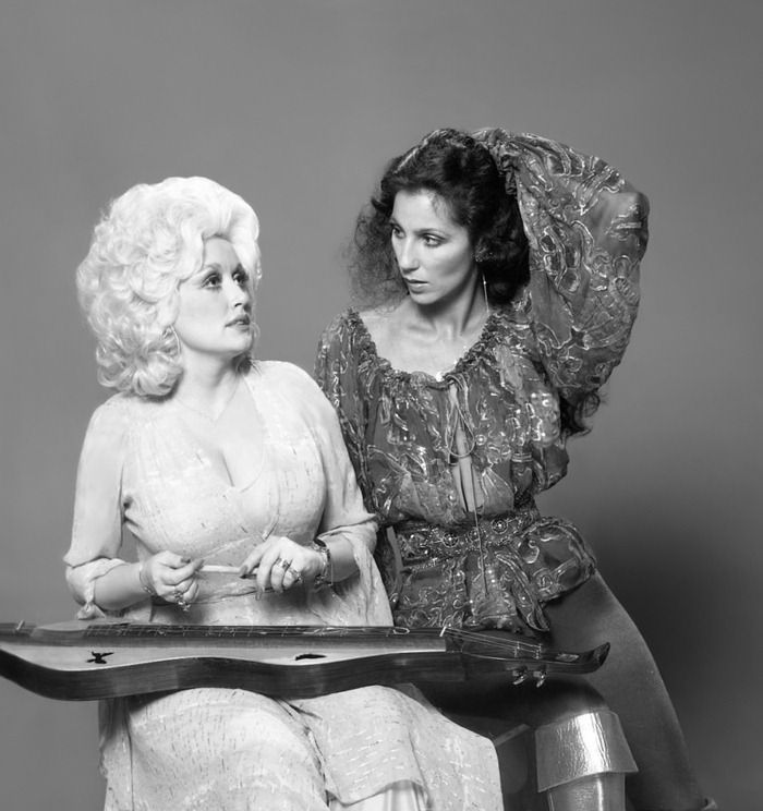 Dolly Parton and Cher  by Harry Langdon