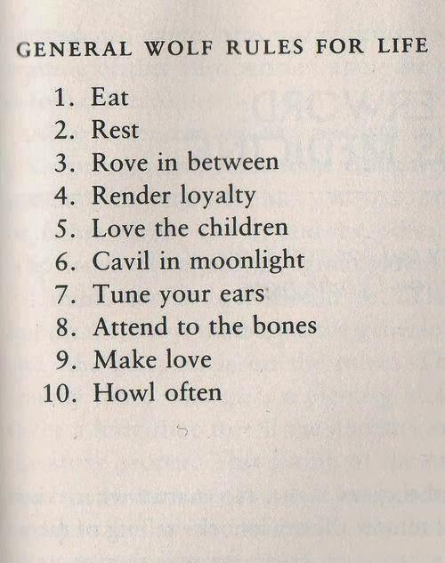 Lobo reglas para una vida feliz.