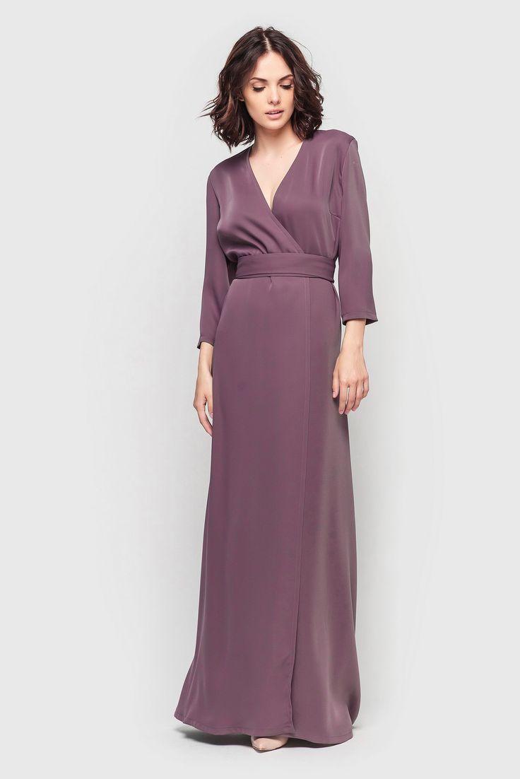Платье макси на запах костюмка розовое дерево 1390грн. Шикарный вечерний вариант для выхода в свет #платье #макси на запах. За счёт розового оттенка и особого кроя костюмной ткани от Вас так и будет веять обаятельностью и естественным шармом. #VOVK