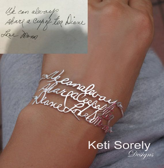 Handwriting JBracelet with Double Chain - Signature Message Bracelet in Sterlng Silver, Yellow Gold, Rose Gold, 14K Gold Filled