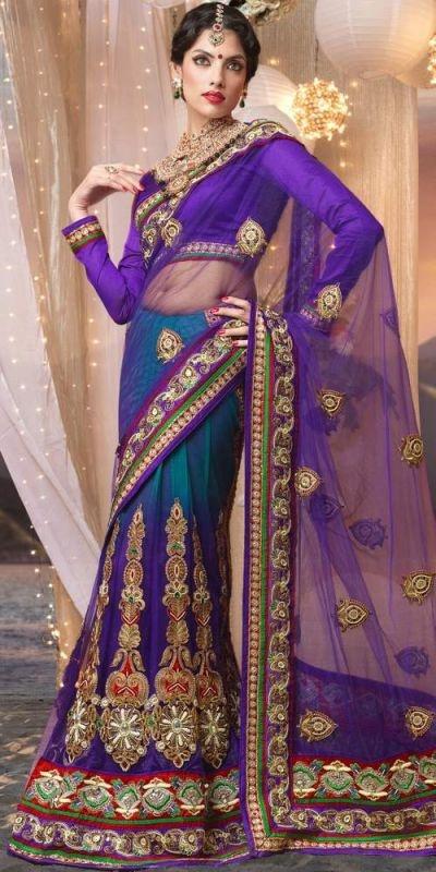 Blue Net Saree [SBMN1931] - $185.32 : Online Shopping for women - Latest Designer, wedding, bridal Sarees and Salwar Kameez on Sale | Indian salwar suits designs | Zohraa.com Bollywood Fashion