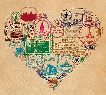 liking the idea of a ohio/michigan/travel theme....heart print - passport stamp