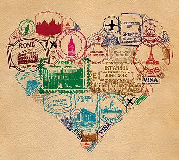 liking the idea of a ohio/michigan/travel theme....heart print - passport stamp