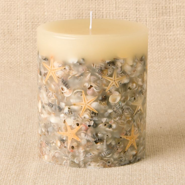 Rosy Rings Beach House Botanical Candle  Made with: shells, starfish, essential and high quality fragrance oils, proprietary wax blend, cotton wick.