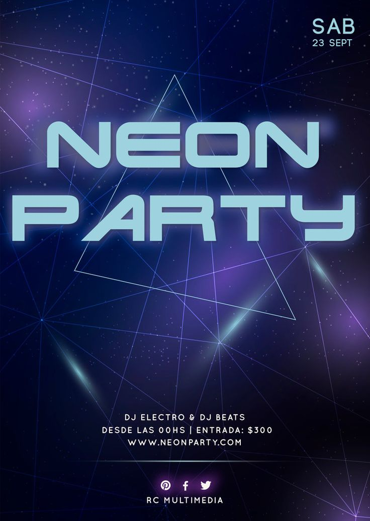 Neon Party Flyer  #neon #party #flyer #posters #a4 #graphicdesign #diseño #vector #night #club #music #electro #electronics #digitalart #illustrator #retro #synthwave #80s #triangles #geometrical #lines #multimedia