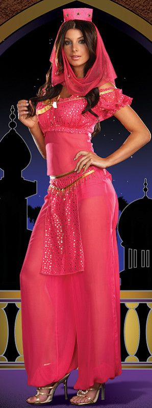 Genie Princess Arabian Nights Belly Dance Fancy Dress Costume, 3 colours | eBay. The girls like the hat for this costumes