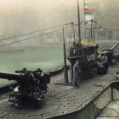 "The German submarine U-155 on display in St. Katherine docks, London, England, December 1918. The SM U-155 (formerly merchant submarine ""Deutschland"") was a Type U-151 U-Kreuzer of the Kaiserliche Marine during World War I. Built at Flensburger Schiffbau, she was launched on 28 March 1916 as merchant submarine ""Deutschland"" Deutschland was a blockade-breaking German merchant submarine used during World War I. It was developed with private funds and operated by the North German Lloyd Line."