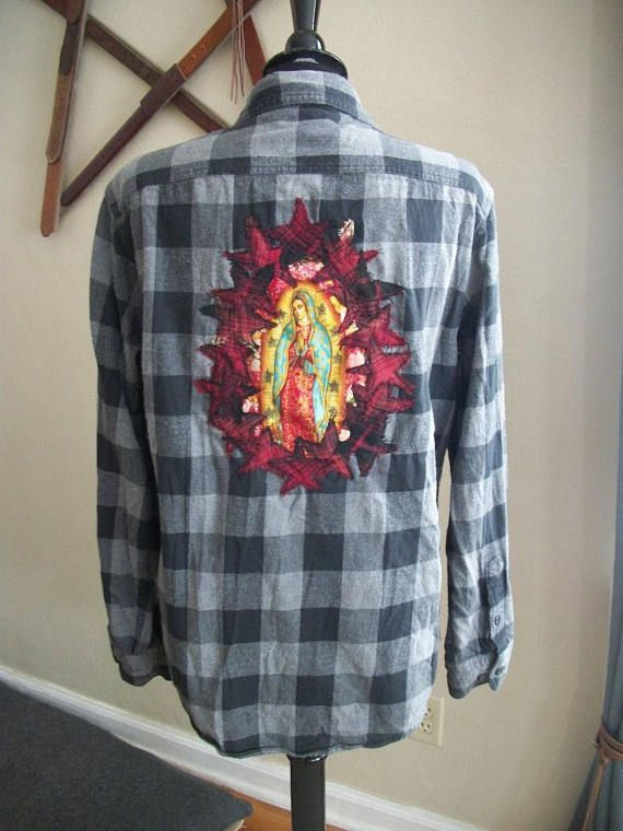 Black & Gray Flannel Shirt Red Plaid Stars Lady Guadalupe