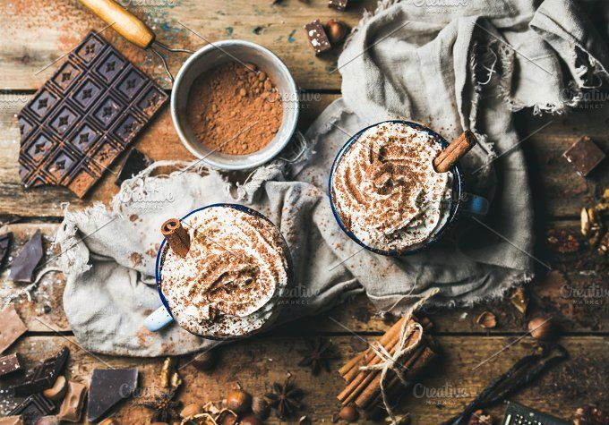 Hot chocolate with whipped cream by Foxys on @creativemarket