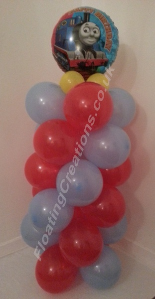 Thomas the Tank Engine Birthday balloon column https://www.facebook.com/balloonsglasgow