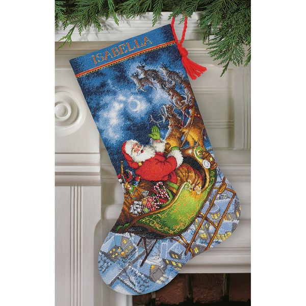 Gold Collection Santa's Flight Stocking Counted Cross Stitch-16in Long 16 Count - Overstock™ Shopping - Big Discounts on Dimensions Cross Stitch Kits