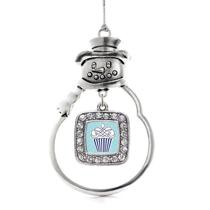 Blue Chevron Cupcake Square Charm Holiday Ornament