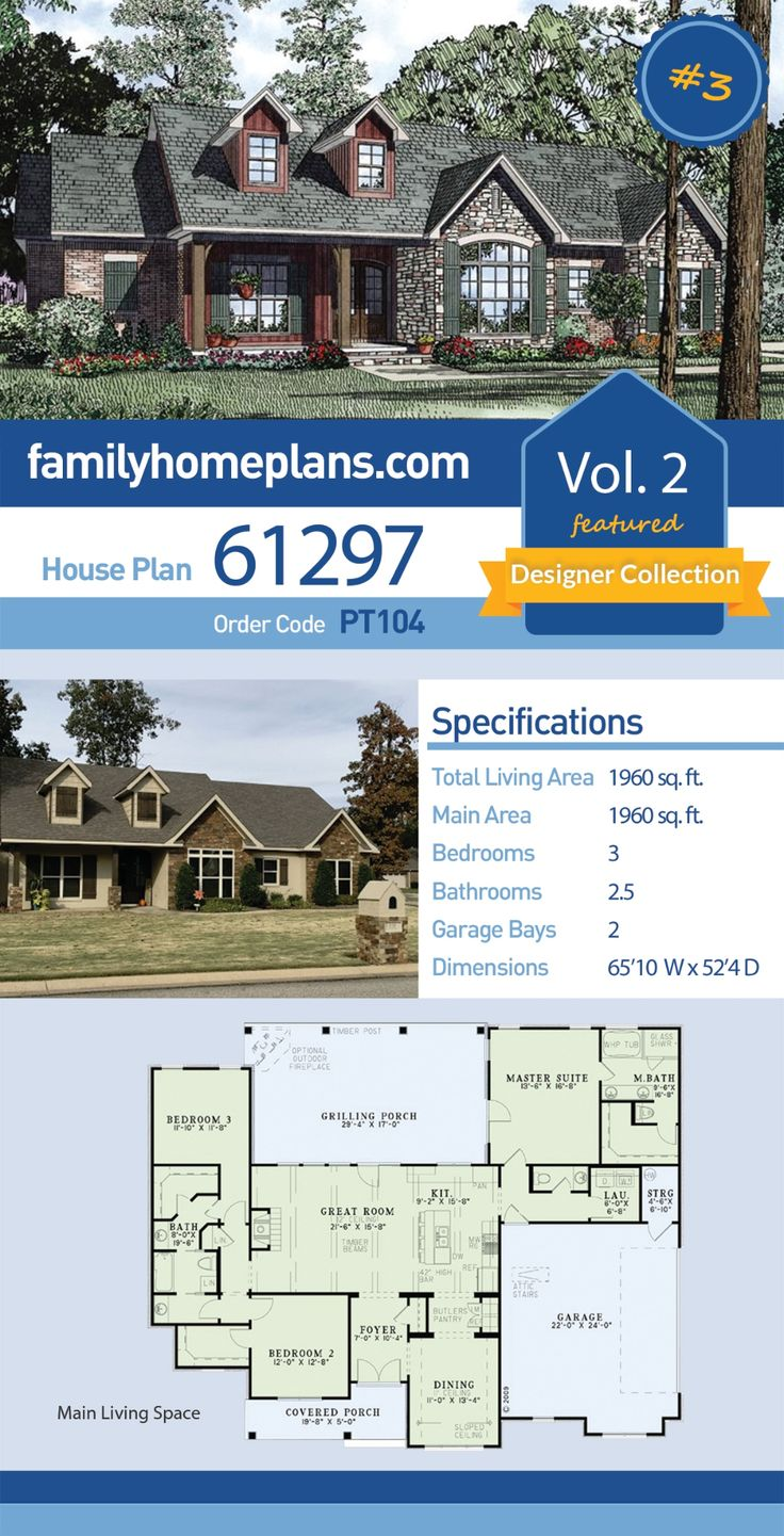Traditional Style House Plan 61297 With 3 Bed 3 Bath 2 Car Garage In 2020 House Plans Dream House Plans New House Plans