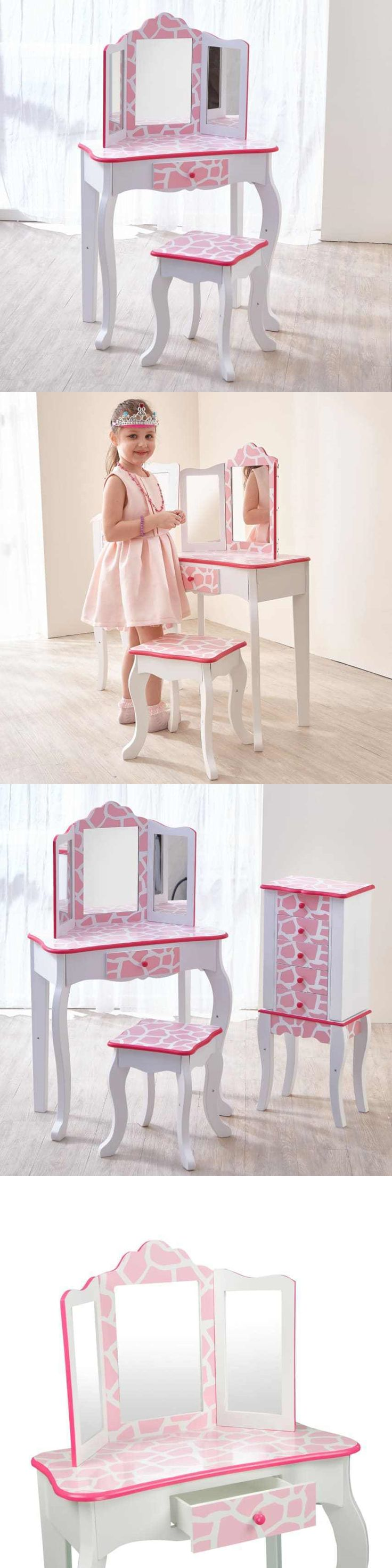 Kids at Home: Girls Dressing Table Set White Pink Desk Kids Bedroom Home Desk Mirror New BUY IT NOW ONLY: $144.1