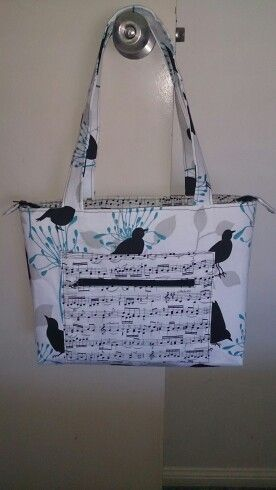 Birds and Music zippered tote.