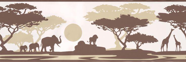 Selbstklebende Bordüre Safari Afrika braun