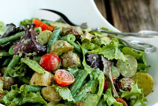 Roasted Potato Green Bean Salad with Basil Buttermilk Dressing