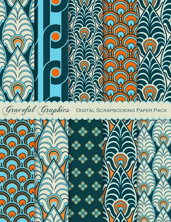 Art DECO Papel de scrapbook PAVÃO Penas Papéis de fundo Scrapbook digital 8,5 x 11 azul esverdeado azul laranja verde turquesa 10 folhas # 1657gg   – Druckvorlagen – printable & pattern