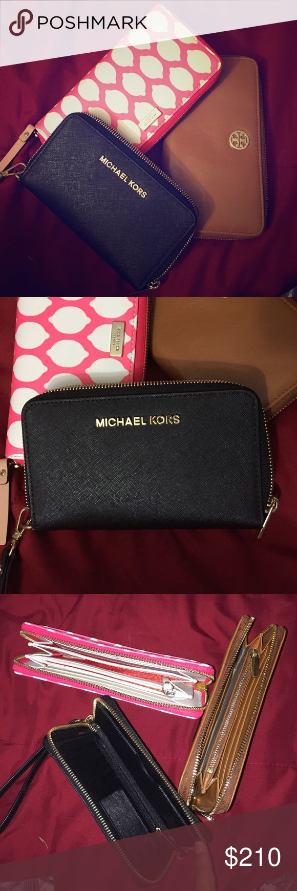 ‼️Three Brand Wallets‼️Tory/Kate Spade/MK😍😍 Tory Burch - brown Continental Wallet with many pockets //// Kate Spade - Pink wallet with Red and Cream Interiors with many pockets//MK - Black Wallet with many pockets and great interiors! they all are like new - Pre-owned used once or twice Tory Burch Bags Wallets
