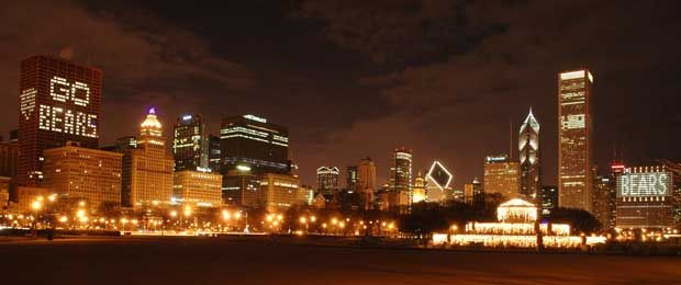 Chicago skyline when the Bears went to the superbowl.