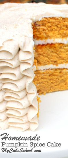 The most delicious homemade pumpkin spice cake from scratch! Recipe by http://MyCakeSchool.com.